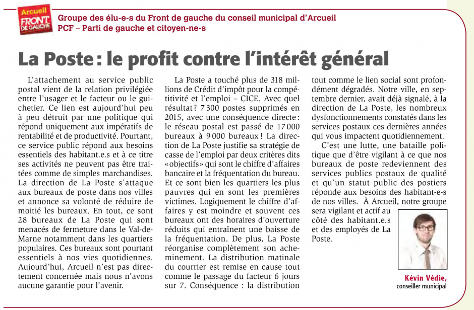 Tribune de groupe Avril 2017